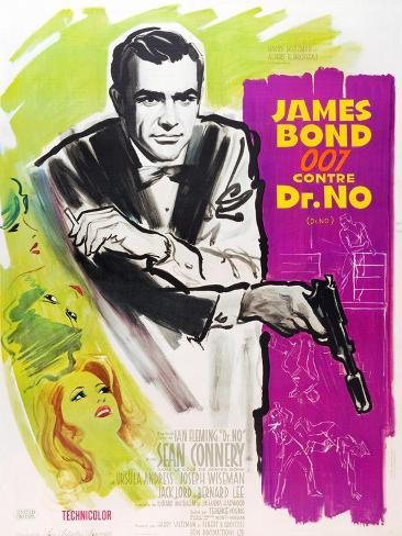 Dr. No, Sean Connery on French poster art, 1962 Art Print