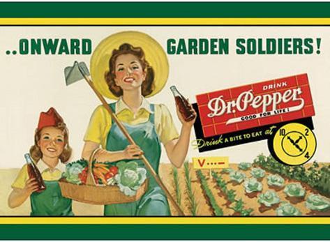 Dr Pepper Soda Onward Garden Soldiers Tin Sign