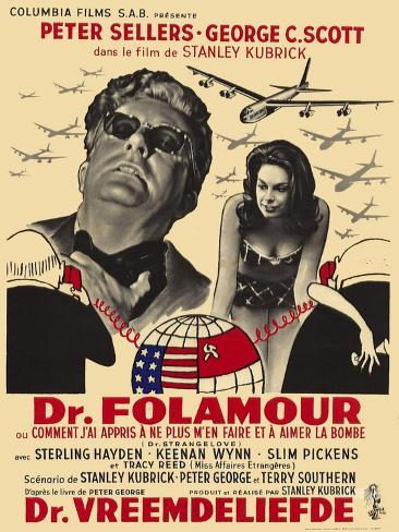 Dr. Strangelove, Belgian Movie Poster, 1964 Art Print