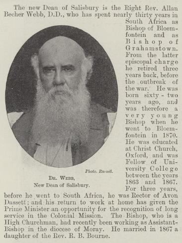 Dr Webb, New Dean of Salisbury Lámina giclée