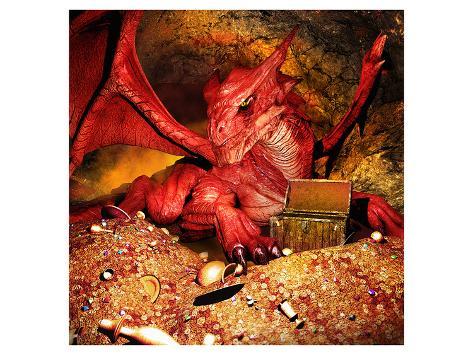 Dragon Smaug & Erebor Treasure Art Print