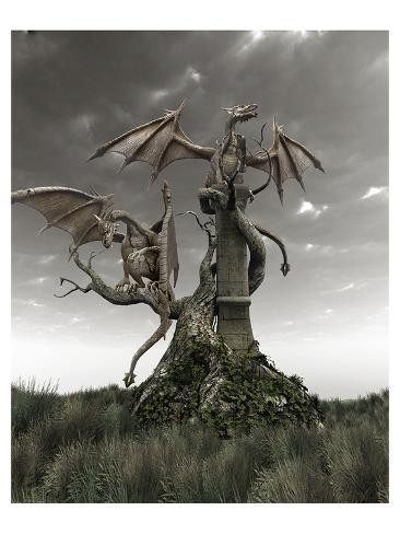 Dragons on a Gnarled Tree Art Print