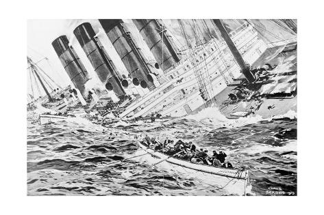 Drawing Depicting Lusitania Sinking Giclee Print