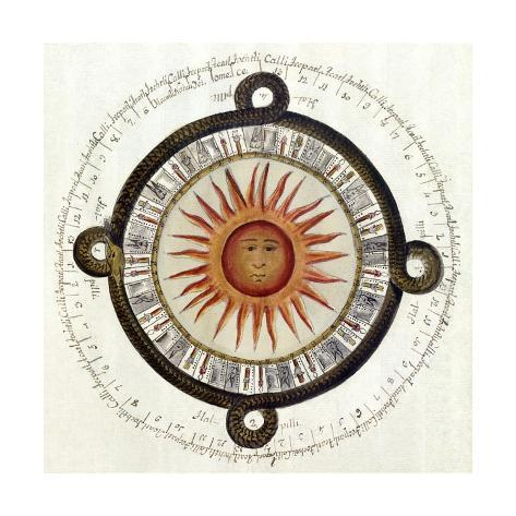 Drawing of the Aztec Sun Calendar Stone in Mexico Stampa giclée