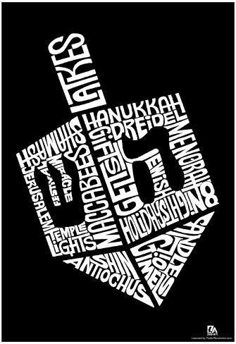 Dreidel Hanukkah Text Poster Póster
