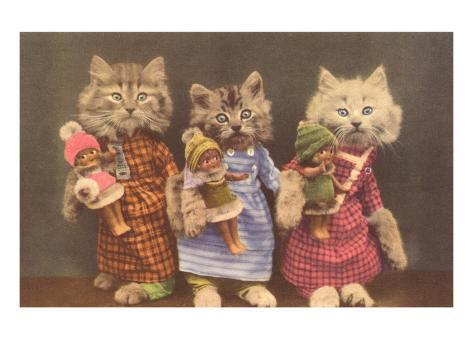 Dressed Kittens with Dolls Art Print
