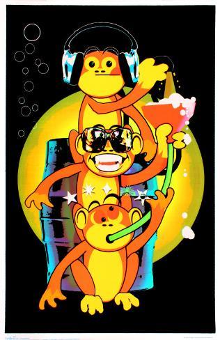 Drinking Monkeys Blacklight Poster