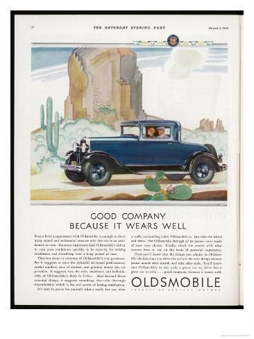 Driving Through the Western Desert in an Oldsmobile, A Great Car to Drive and a Great Car to Own Giclee Print