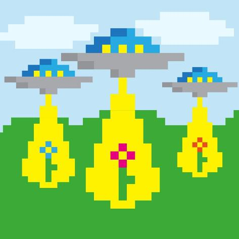 Pixel Vector Landscape with UFO Art Print