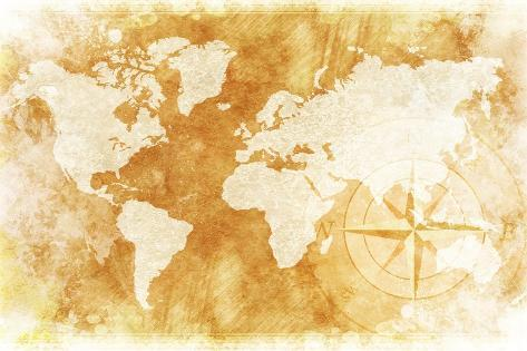Rustic World Map Print By Duallogic At Allposters Com