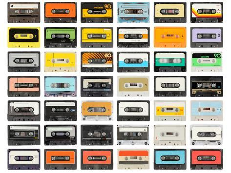 A Large Collection of Retro Cassette Tapes Places in a Grid Photographic Print