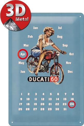ducati pin up kalender metalen bord bij. Black Bedroom Furniture Sets. Home Design Ideas