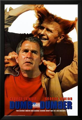 Dumb and Dumber - Bush Jr./Bush Sr. Inramad laminerad poster