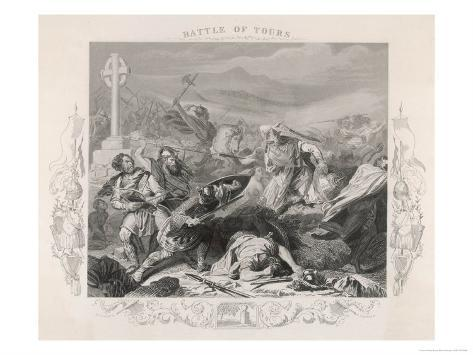 Charles Martel Halts the Advance of the Saracen Forces at the Battle of Tours Giclee Print