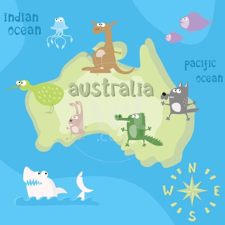 concept design map of australian continent with animals drawing in funny cartoon style for kids and poster by dunhill at allposterscom