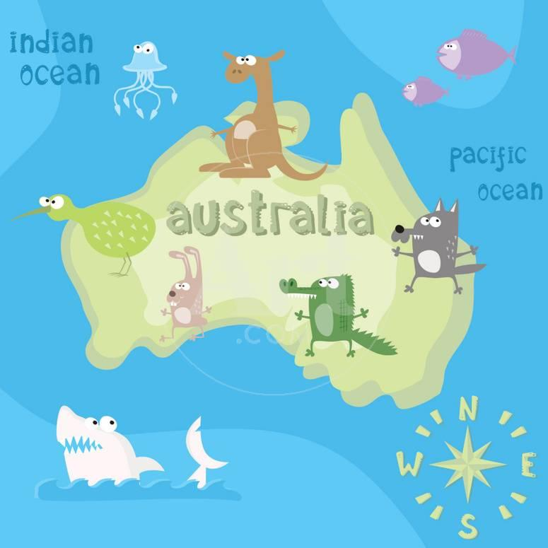 Australia Map Cartoon.Concept Design Map Of Australian Continent With Animals Drawing In