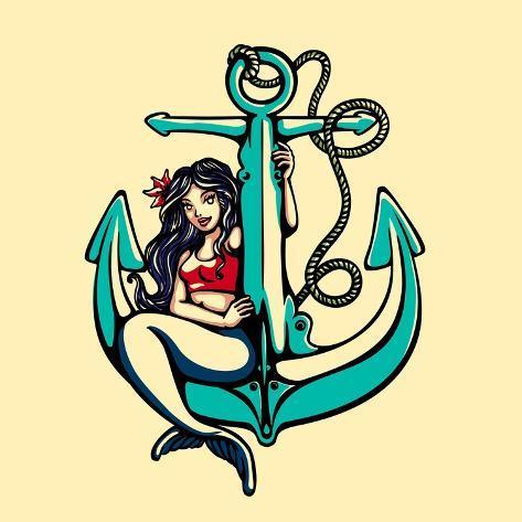 Pretty Siren Mermaid Pin up Girl Sitting on Anchor, Sailor Old School Style Tattoo Vector Illustrat Art Print