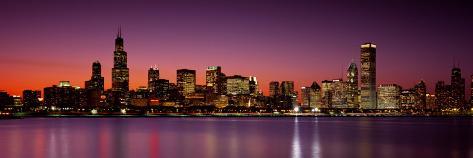 Dusk, Skyline, Chicago, Illinois, USA Impressão fotográfica premium