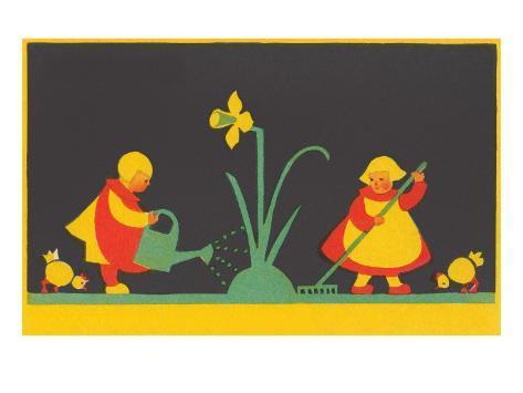 Dutch Children Watering Daffodil Art Print