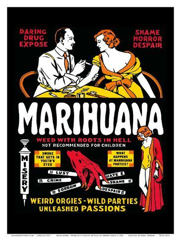 Marihuana - Weed with Roots in Hell - Weird Orgies - Wild Parties - Unleashed Passions Impressão artística