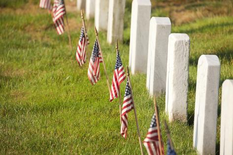 American Flags near Gravestones at Arlington National Cemetery in Virginia Photographic Print