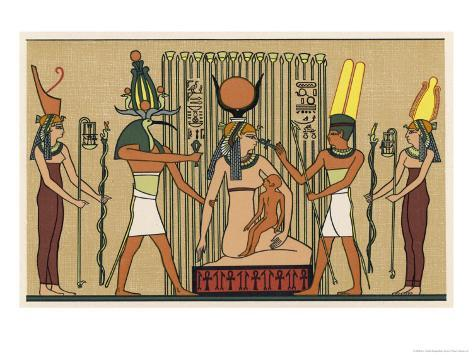 Isis She Suckles Horus in the Papyrus Swamps Giclee Print