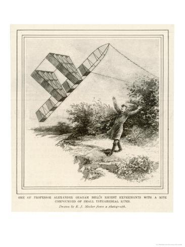 The Inventor Alexander Graham Bell Flying His Tetrahedral Kite Giclee Print