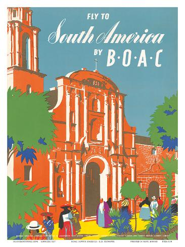British Overseas Airways Corporation: Fly to South America by BOAC, c.1950s Art Print
