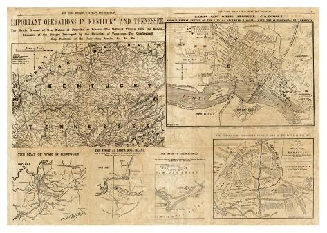Important Operations in Kentucky and Tennessee, c.1861 Art Print