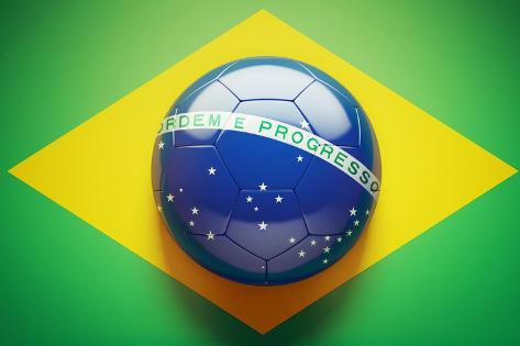 brazilian flag soccer ball photographic print by eabff by