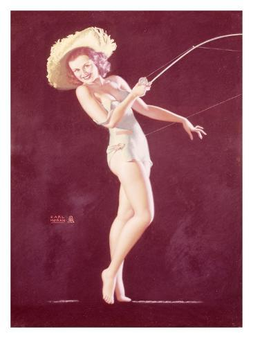 Pin-Up Girl: Goin Fishin Giclee Print