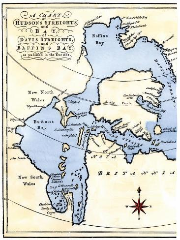 Early Map of Hudson's Strait and Hudson's Bay, 1662, in Arctic Canada Giclee Print
