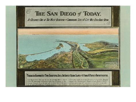 Early Map of San Diego, California Art Print