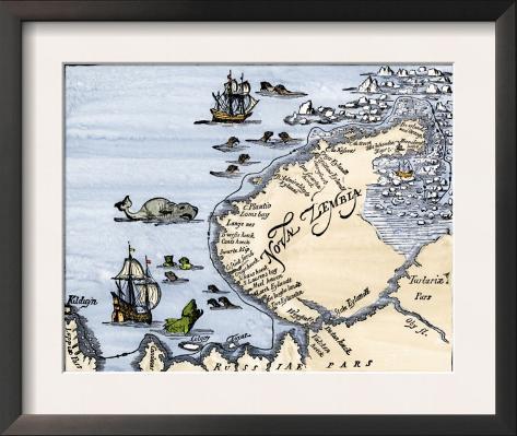 Early Map Showing Nova Zembla Off the Arctic Coast of Russia, Probably 1600 Framed Art Print