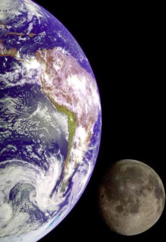 Earth and Moon from Space Poster