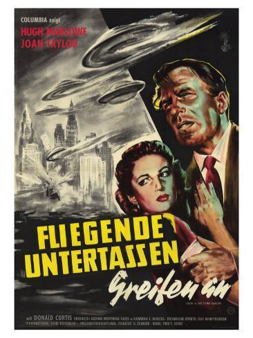 Earth vs. the Flying Saucers, German Movie Poster, 1956 Impressão artística