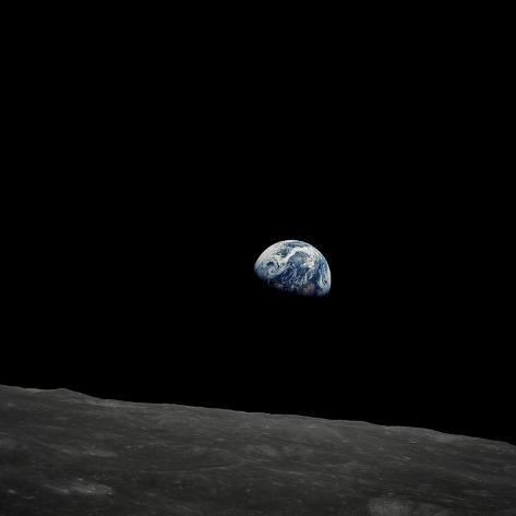 Earthrise and Lunar Horizon from Apollo 8 Stretched Canvas Print