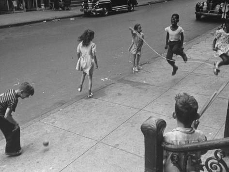 Children Jumping Rope on Sidewalk Photographic Print