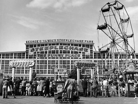 People Entering Coney Island Amusement Park Photographic Print