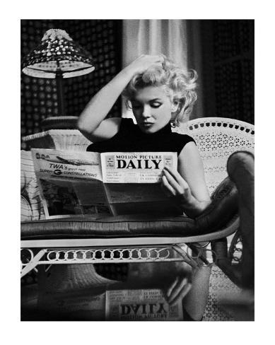 Marilyn Monroe Reading Motion Picture Daily, New York, c.1955 Framed Art Print