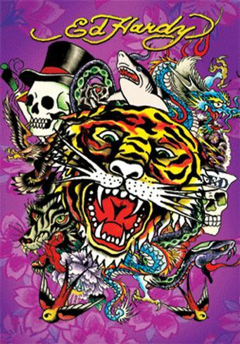 Ed Hardy - Tiger 3 Dimensional Poster