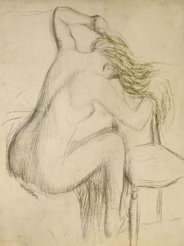 A Seated Woman Styling Her Hair Giclee Print