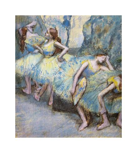 Ballet Dancers in the Wings, c.1890-1900 Lámina giclée prémium