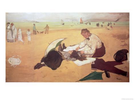 Beach Scene: Little Girl Having Her Hair Combed by Her Nanny, circa 1876-77 Giclee Print
