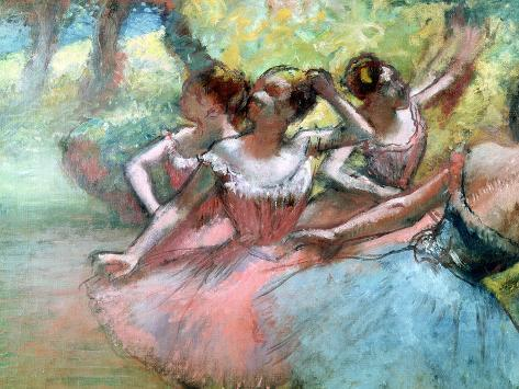 Four Ballerinas on the Stage Giclee Print