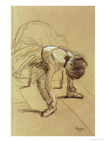 Seated Dancer Adjusting Her Shoes, circa 1890 Giclee Print