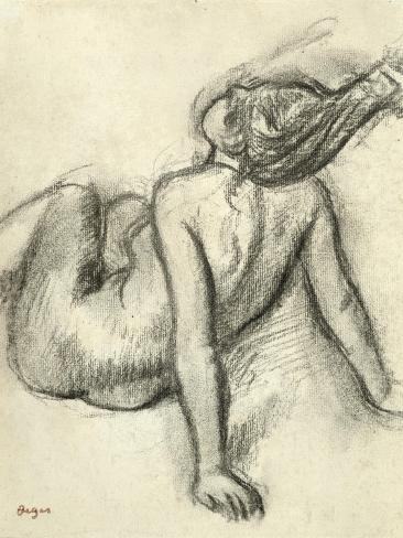 Woman Having Her Hair Styled (Charcoal on Paper) Lámina giclée