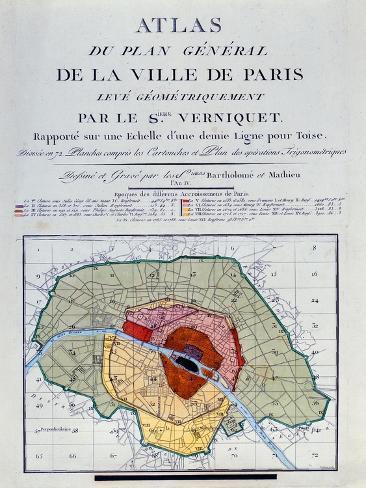 Atlas Du Plan General De La Ville De Paris, 1796 Giclee Print