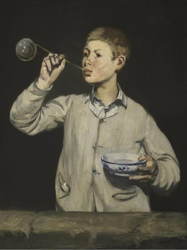 Boy Blowing Bubbles Giclee Print