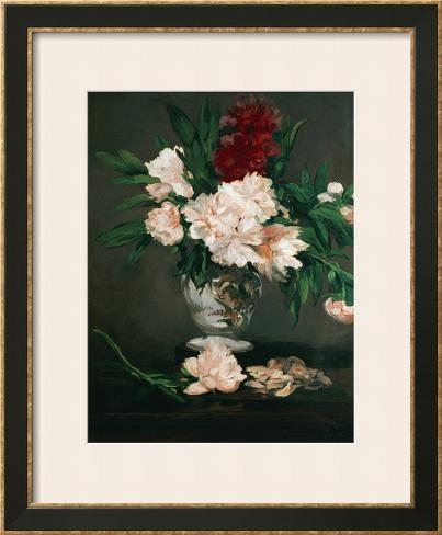 Vase with Peonies on a Pedestal, 1864 Impressão giclée emoldurada